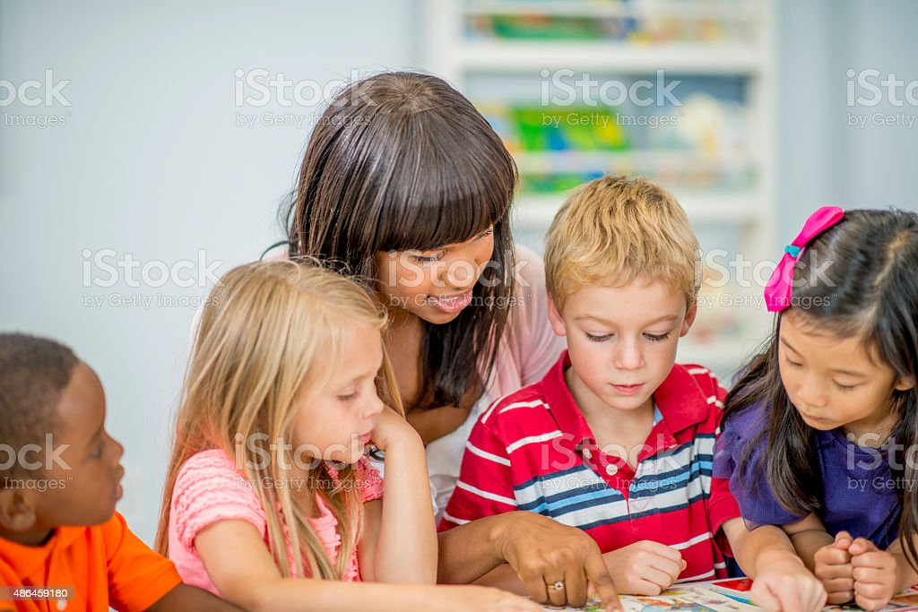 Daycare Story Book Time stock photo