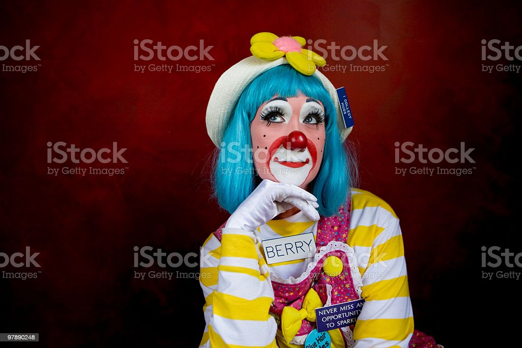 Daydreaming Female Clown royalty-free stock photo