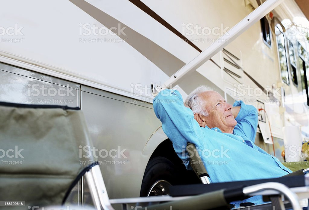 Daydreaming - Relaxed senior man looking away royalty-free stock photo