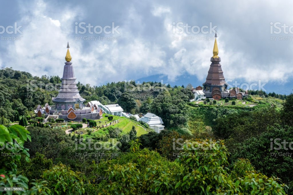 Daylight Landscape of two pagodas in Doi Inthanon mountain Chaingmai, Thailand. stock photo
