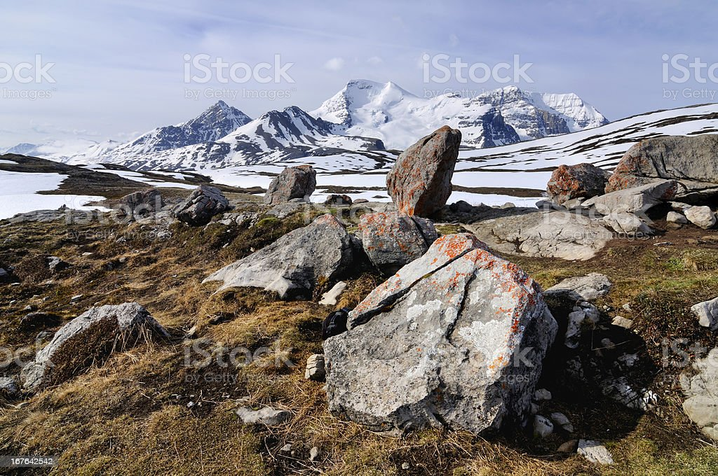 Daylight landscape with mountains covered by snow in Canada royalty-free stock photo