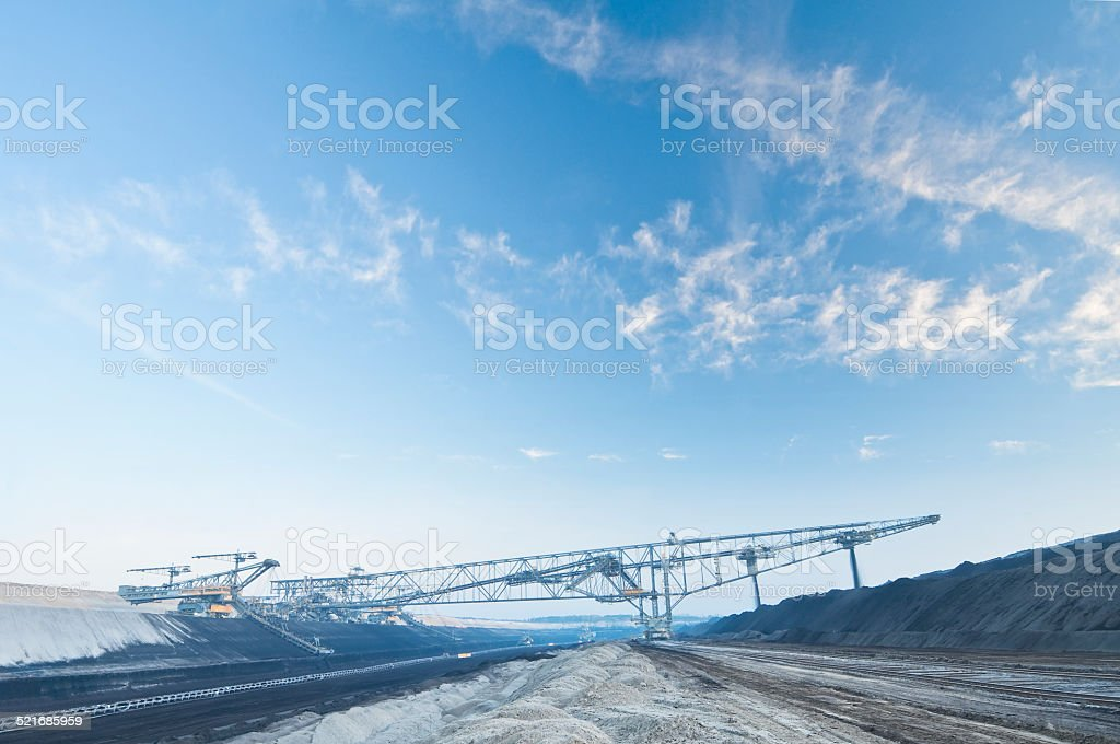 Daylight mine and digger for a Brown coal power station stock photo
