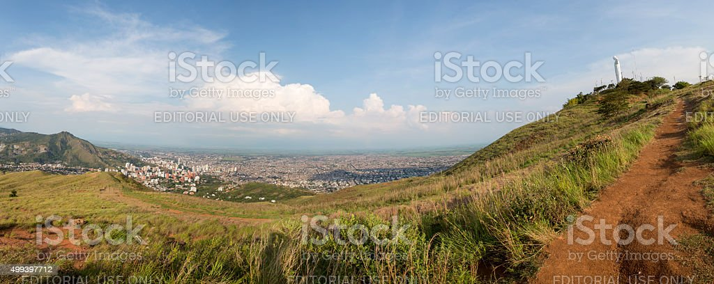 Daylight panorama cityscape of Cali, Colombia stock photo