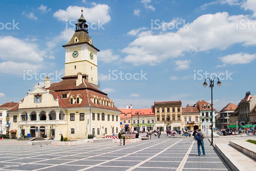 Daylight photo of Town Hall in Brasov, Romania stock photo