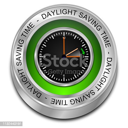 istock Daylight saving time button - 3D illustration 1132440191