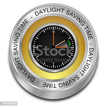 istock Daylight saving time button - 3D illustration 655806698