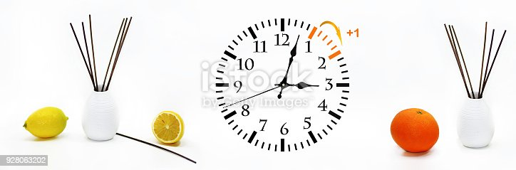 istock Daylight Saving Time. DST. Wall Clock going to winter time. 928063202
