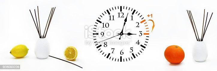 istock Daylight Saving Time. DST. Wall Clock going to winter time. 928063226