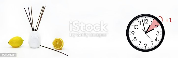 istock Daylight Saving Time. DST. Wall Clock going to winter time. 928063234