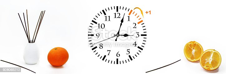 istock Daylight Saving Time. DST. Wall Clock going to winter time. 928065212