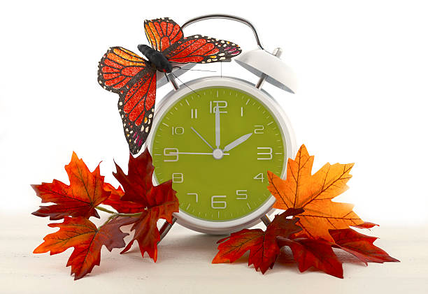 daylight saving time ends concept with autumn fall theme. - 2015 stok fotoğraflar ve resimler
