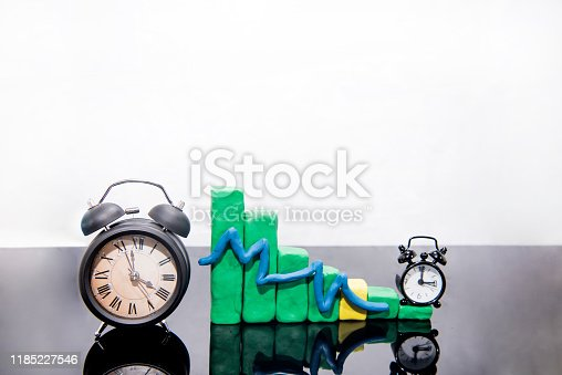 607492948 istock photo Daylight Saving Time. Fall back time abstract photo. Graph made from Play Clay. 1185227546