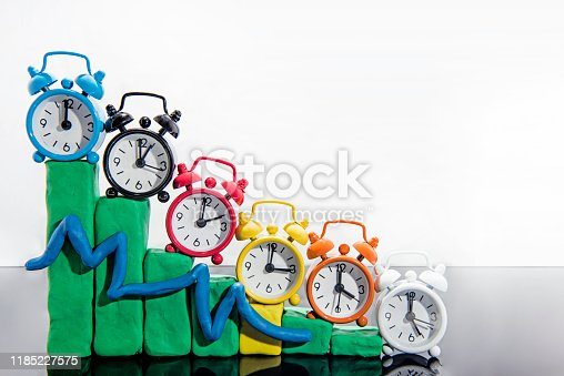 607492948 istock photo Daylight Saving Time. Fall back time abstract photo. Graph made from Play Clay. 1185227575