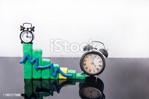 607492948 istock photo Daylight Saving Time. Fall back time abstract photo. Graph made from Play Clay. 1185227589