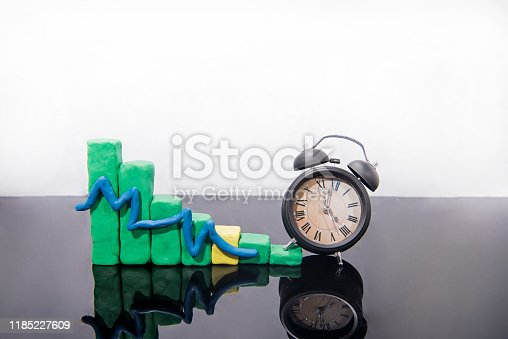 607492948 istock photo Daylight Saving Time. Fall back time abstract photo. Graph made from Play Clay. 1185227609