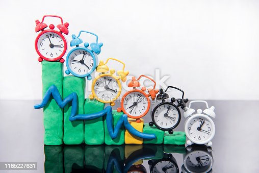 607492948 istock photo Daylight Saving Time. Fall back time abstract photo. Graph made from Play Clay. 1185227631