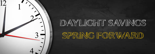 Daylight Savings - Spring Forward Daylight Savings concept with Clock time zone stock pictures, royalty-free photos & images