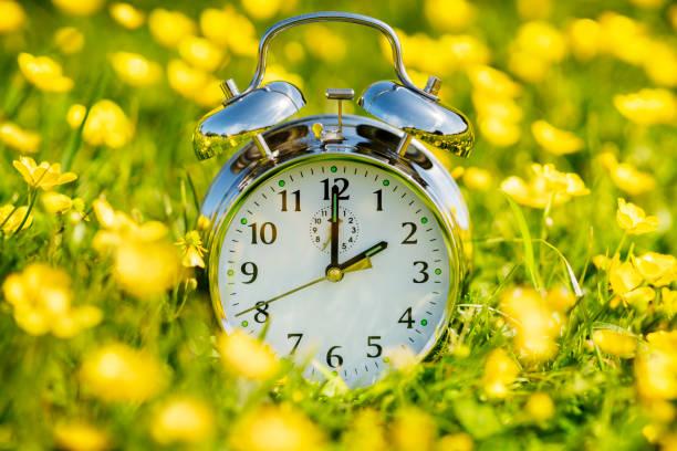 Daylight savings time change, spring forward stock photo