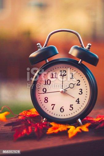 istock Daylight savings time clocks fall back in Autumn 868352528