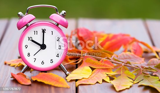 Daylight savings time in autumn fall, retro alarm clock on a wooden background with orange leaves, web banner