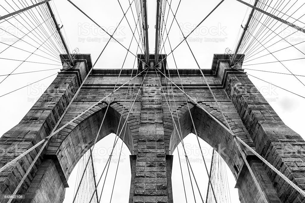 Daylight view of Brooklyn Bridge tower stock photo