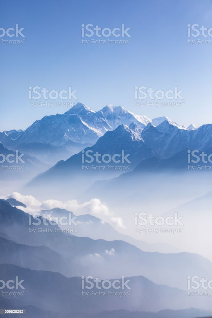 Daylight view of Mount Everest. stock photo