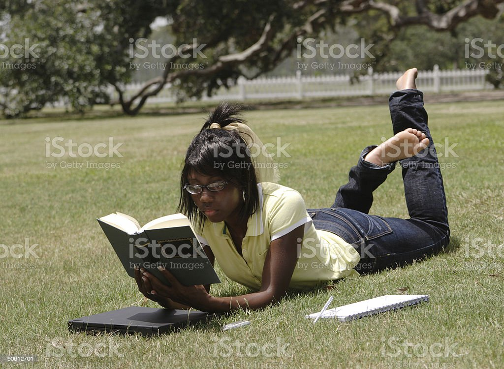 Dayo: Relaxed studying. stock photo