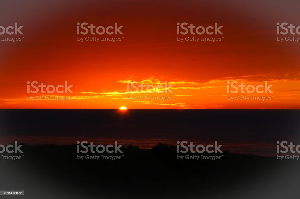 Days end by the sea shore stock photo