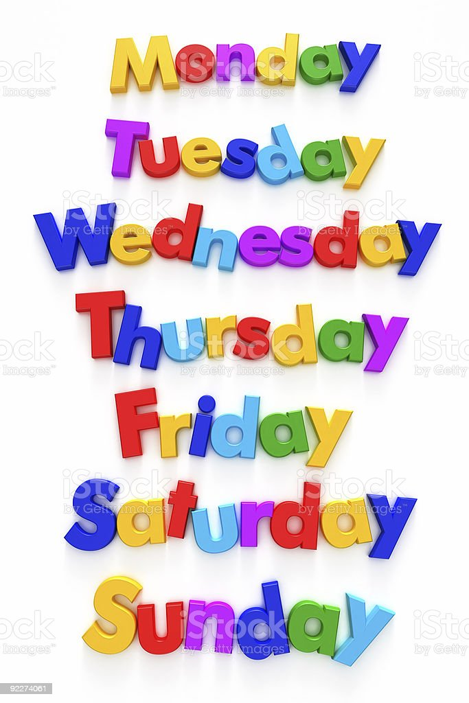 Days of the week in colourful letter magnets stock photo