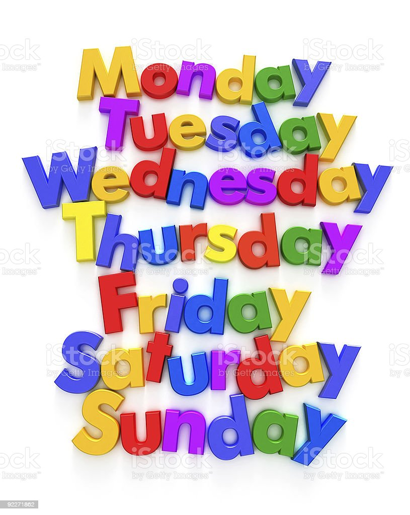 Days of the week in letter magnets royalty-free stock photo
