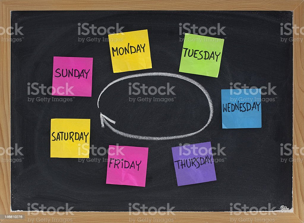 days of week on blackboard stock photo