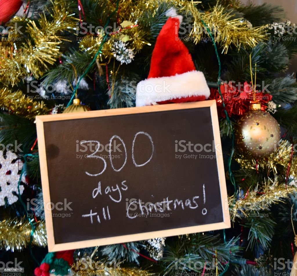 How Many Days Until Christmas Eve.300 Days Until Christmas Blackboard Sign Stock Photo