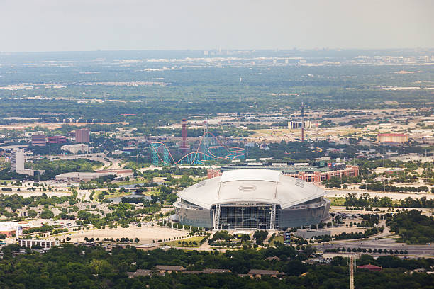 Daytime aerial view of AT&T Stadium in Arlington, Texas stock photo