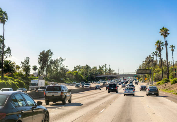 Daytime freeway traffic in Los Angeles stock photo