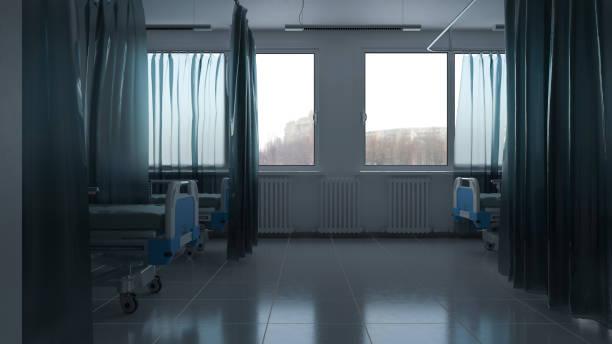 Tagsüber in einem Krankenhauszimmer mit Betten und Vorhängen – Foto