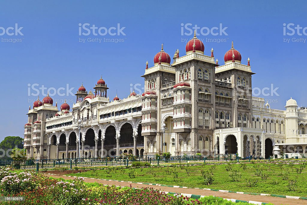 Daytime landscape of Mysore palace, with blue skies royalty-free stock photo