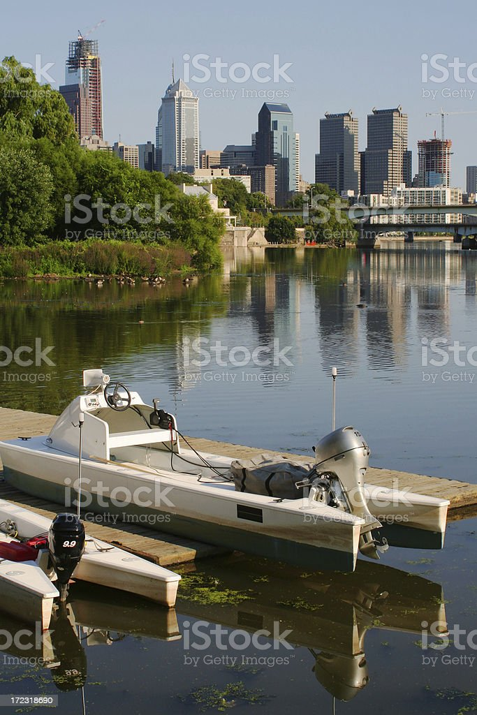 Daytime Philadelphia skyline with Schuylkill river in foreground royalty-free stock photo