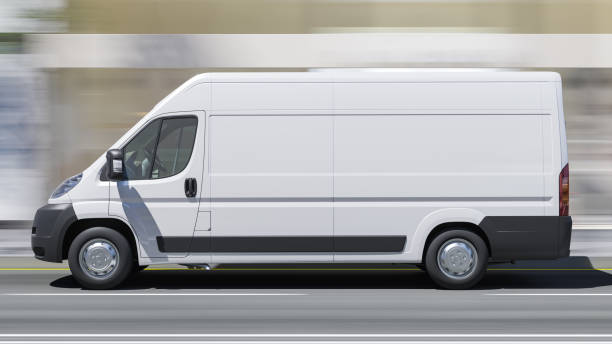 Tagsüber Rendering eines weißen Lieferwagens in Bewegung – Foto