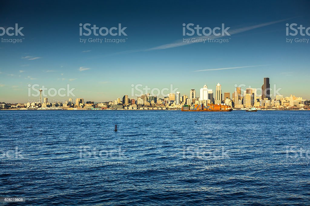 Daytime Seattle Skyline stock photo