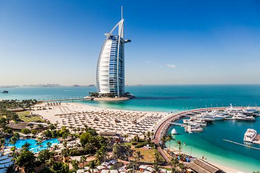 Marina and beach view fo the Burj Al Arab hotel in Dubai