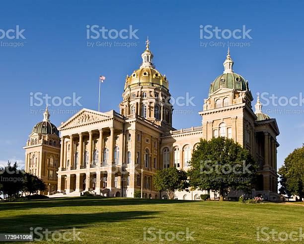 A daytime shot of the Iowa State Capital Building