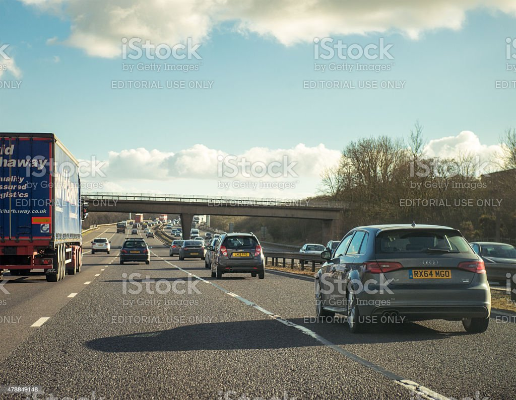 Daytime traffic on the M6 Motorway in England stock photo