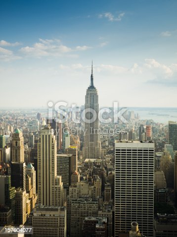 View over the amazing skyscrapers of Manhattan, New York City during daytime.