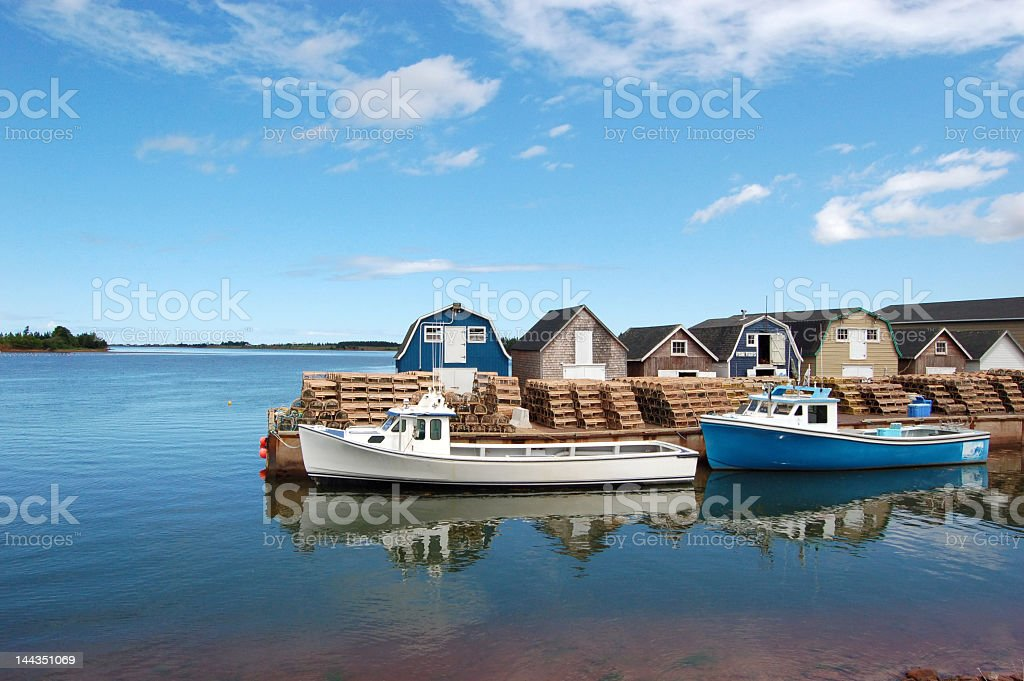 Daytime view of a fishing marina in Prince Edward Island stock photo