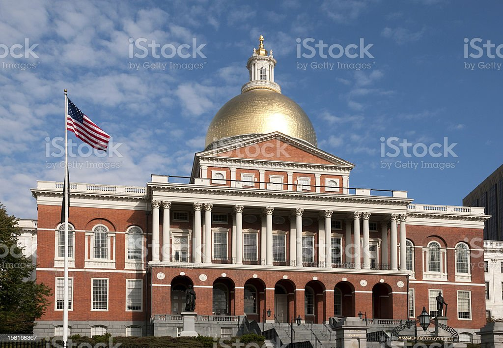A daytime view of the Massachusetts State House stock photo