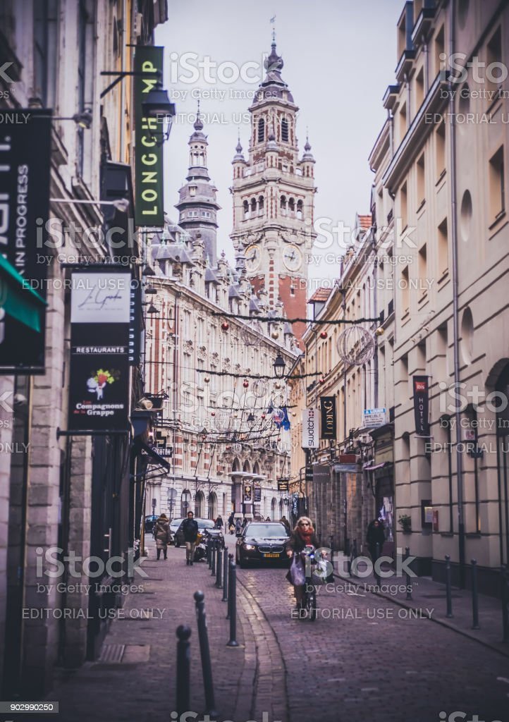 Daytime view on beautiful architecture on buildings stock photo
