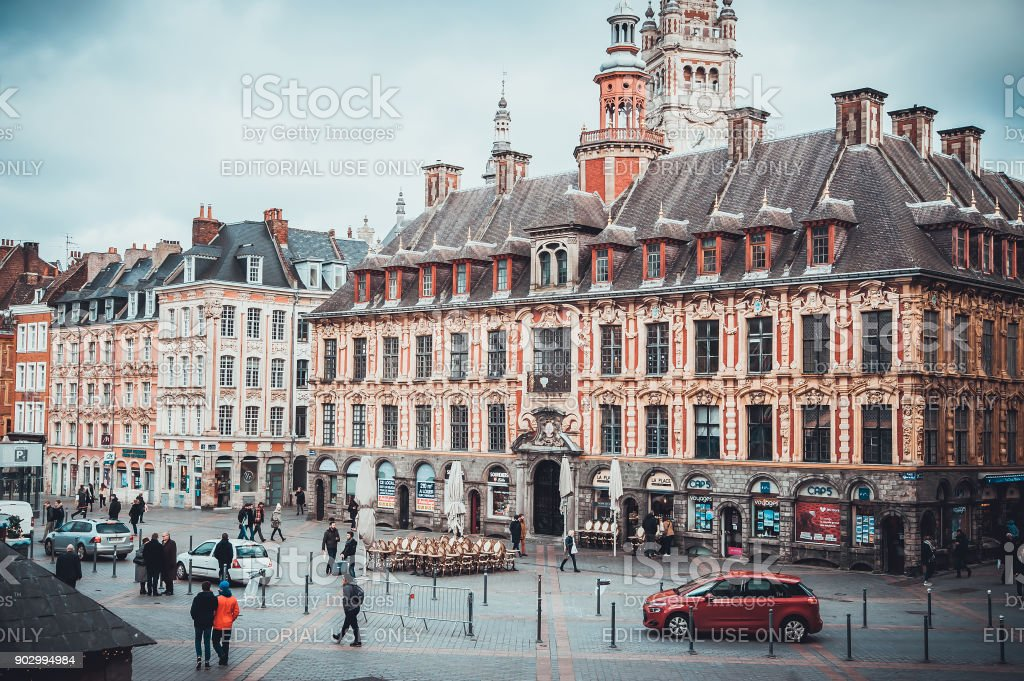 Daytime view on cafe restaurants and vintage buildings. stock photo