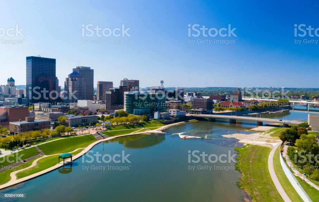 Dayton Aerial With River And Bridge stock photo