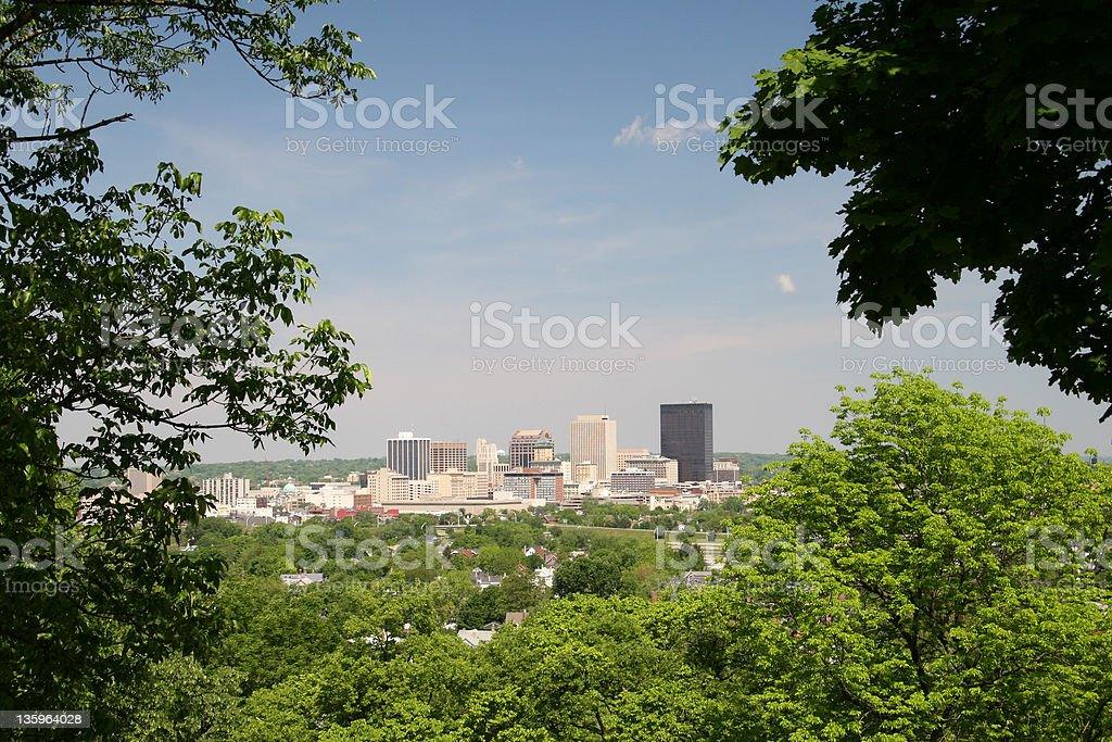 Dayton Cityscape Skyline 1, Dayton, Ohio Dayton Skyline From Woodland Cemetery. Woodland Hills Cemetery, Dayton, Ohio. Dayton - Ohio Stock Photo