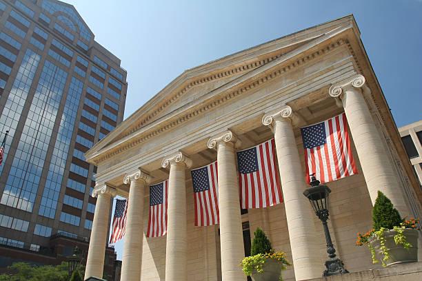 Dayton Courthouse Flags, Dayton, Ohio stock photo